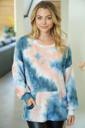 It's A Breeze Blue Coral Tie Dye Waffle Knit Top 1