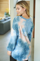It's A Breeze Blue Coral Tie Dye Waffle Knit Top 2