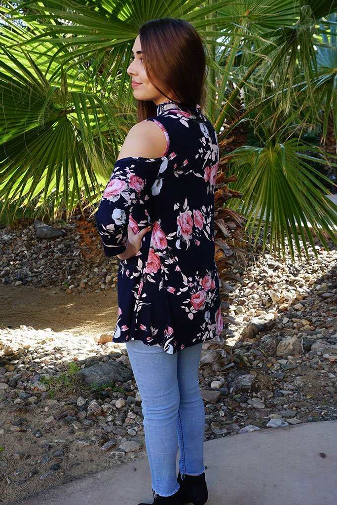 It's A Pleasure Navy Blue Floral Print Cold Shoulder Tunic Top 3