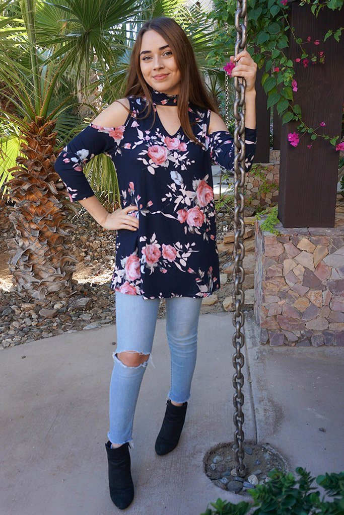 It's A Pleasure Navy Blue Floral Print Cold Shoulder Tunic Top 4