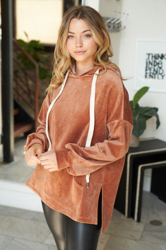 It's Just A Crush Bronze Velvet Hoodie 3