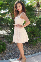 It's Now Or Never Beige Lace Skater Dress 3