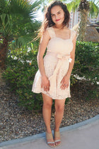 It's Now Or Never Beige Lace Skater Dress 2