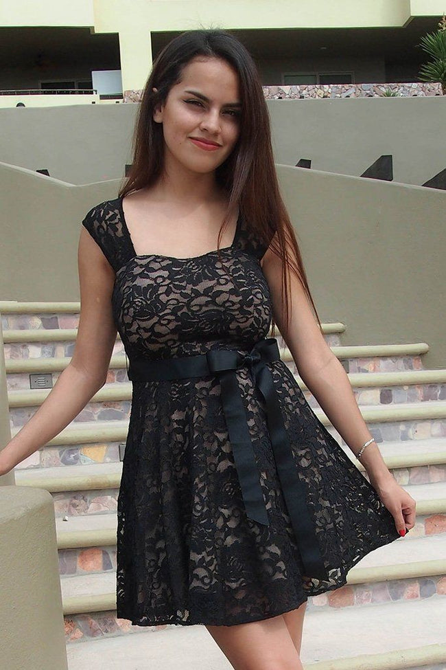 It's Now Or Never Black Lace Skater Dress 1
