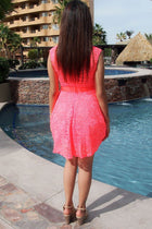 It's Now Or Never Coral Lace Skater Dress 2