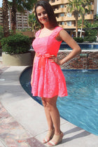 It's Now Or Never Coral Lace Skater Dress 3