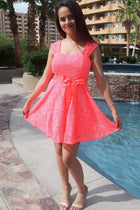 It's Now Or Never Coral Lace Skater Dress 4