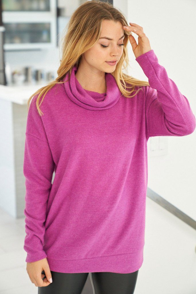 Keep It Cozy Magenta Cowl Neck Sweater 3