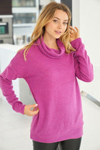 Keep It Cozy Magenta Cowl Neck Sweater 4