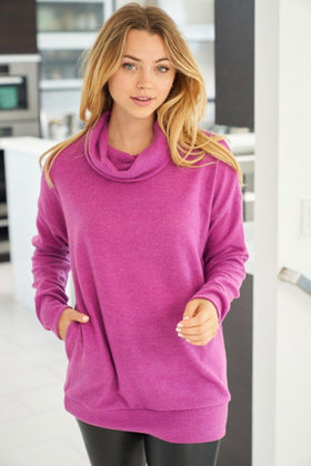 Keep It Cozy Magenta Cowl Neck Sweater 1