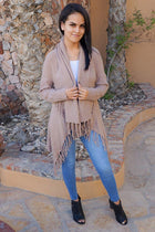 Keep Me Warm Mocha Brown Fringe Open Knit Cardigan 1