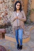Keep Me Warm Mocha Brown Fringe Open Knit Cardigan 4