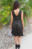 Kiss Me At Midnight Black Sequin Lace Skater Midi Dress 3