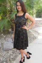 Kiss Me At Midnight Black Sequin Lace Skater Midi Dress 2