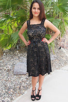 Kiss Me At Midnight Black Sequin Lace Skater Midi Dress 4
