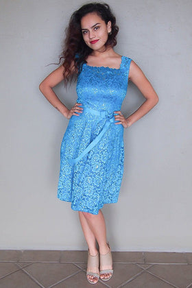 Kiss Me At Midnight Teal Blue Sequin Lace Skater Midi Dress 1