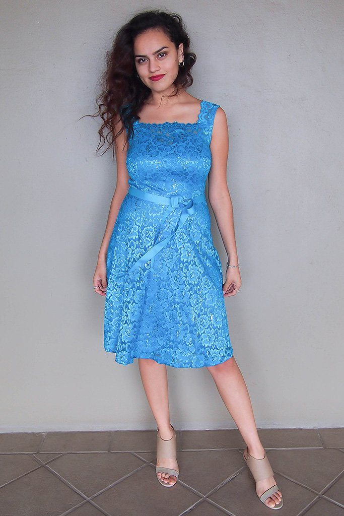 Kiss Me At Midnight Teal Blue Sequin Lace Skater Midi Dress 4