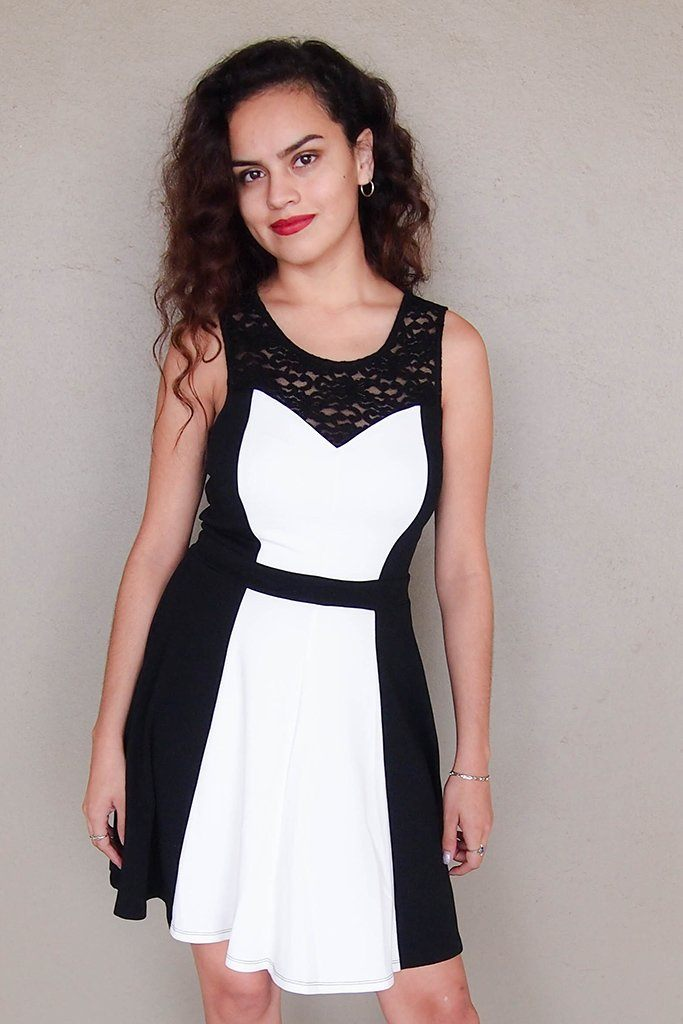 Kiss Me Slowly Black And Ivory Color Block Lace Dress 5