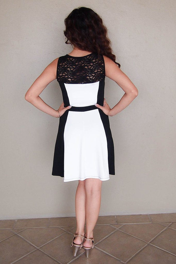 Kiss Me Slowly Black And Ivory Color Block Lace Dress 3