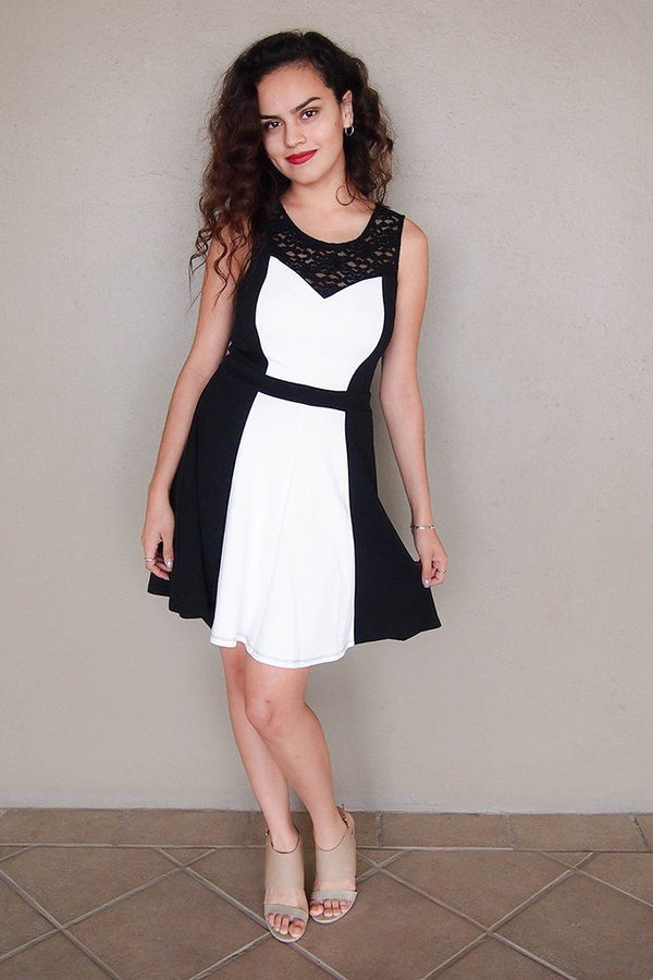 Kiss Me Slowly Black And Ivory Color Block Lace Dress 4