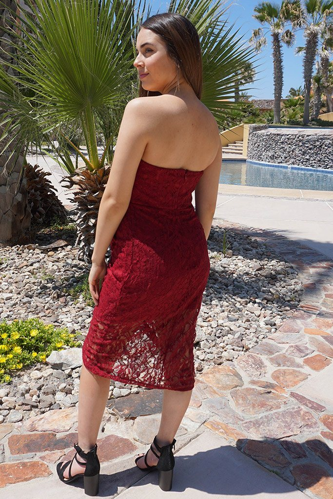 All The Right Moves Burgundy Lace Strapless Wrap Dress 2