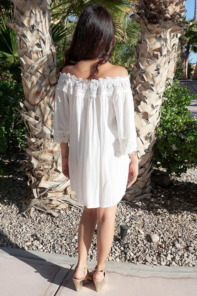 Leave Me Speechless Cream Off The Shoulder Lace Swing Dress 3