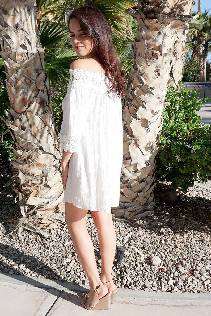 Leave Me Speechless Cream Off The Shoulder Lace Swing Dress 2