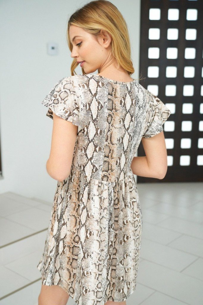 Let Me Loose Beige Snake Print Dress 2
