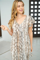 Let Me Loose Beige Snake Print Dress 4