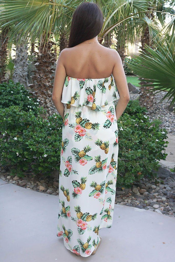 Let's Luau Tropical Pineapple Print Strapless Maxi Romper 3