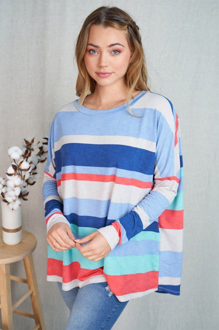 Let's Meet Later Coral Blue Striped Top 1