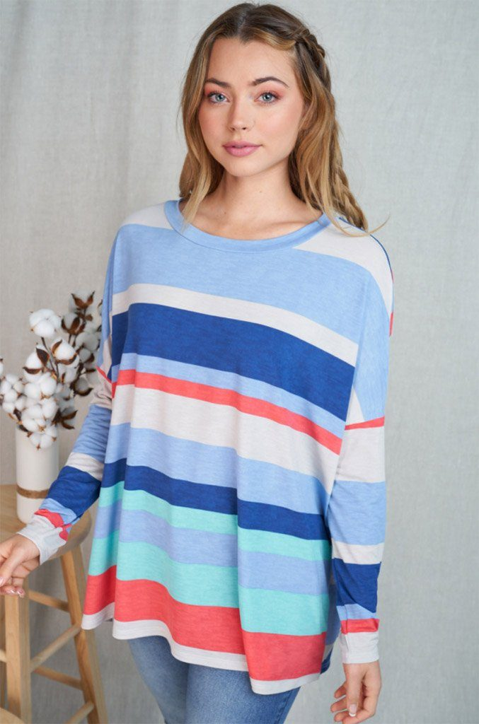 Let's Meet Later Coral Blue Striped Top 3