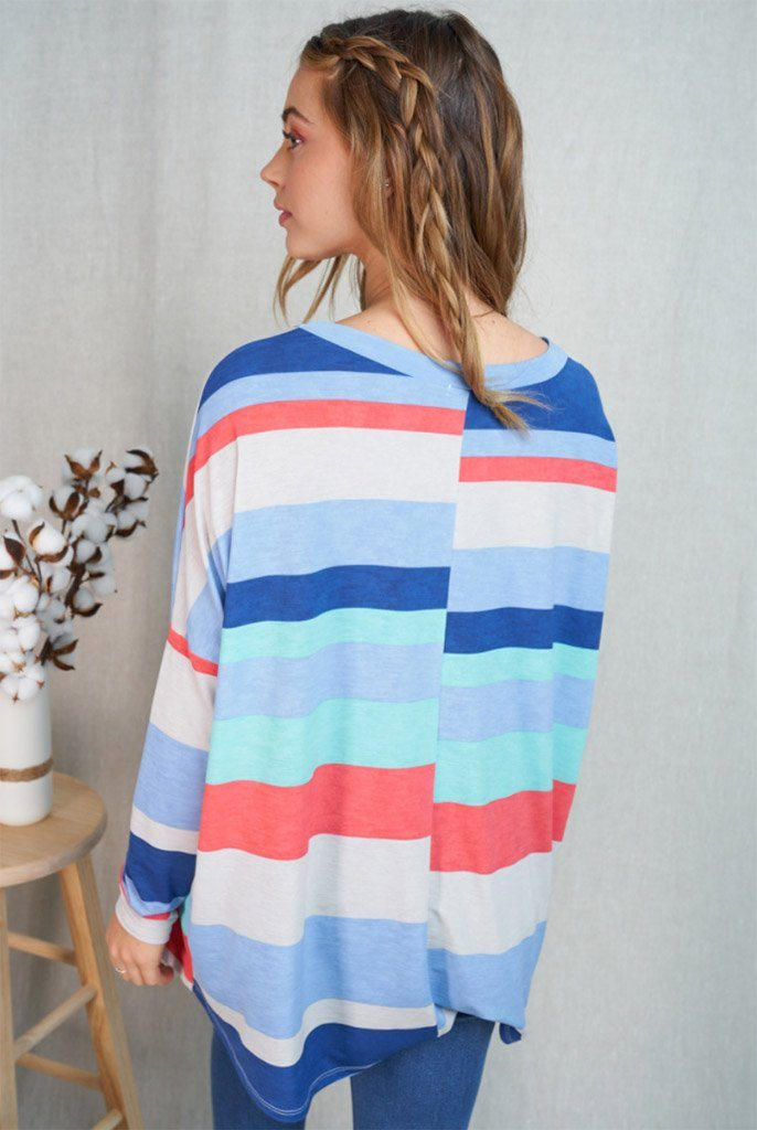 Let's Meet Later Coral Blue Striped Top 2