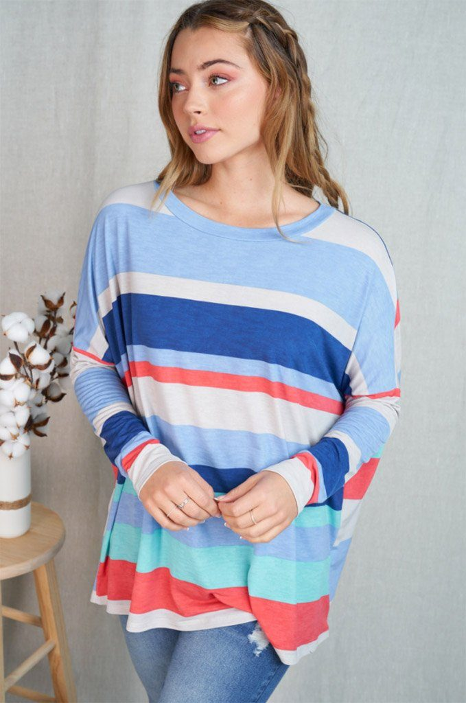 Let's Meet Later Coral Blue Striped Top 4
