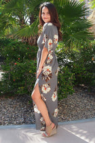 Light Up The Room Faye Grey Floral Print Maxi Dress 2