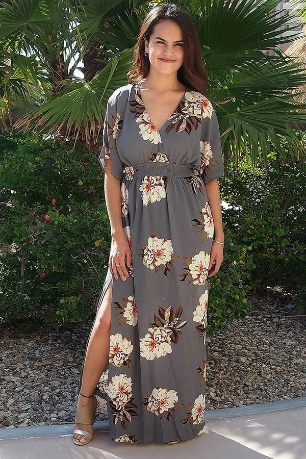 Light Up The Room Faye Grey Floral Print Maxi Dress 1