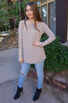 Live For The Moment Mocha Brown Tunic Sweater With Lace 4
