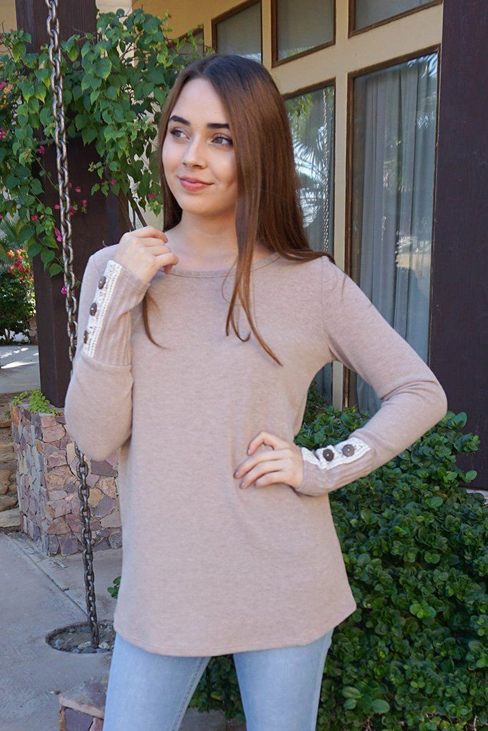 Live For The Moment Mocha Brown Tunic Sweater With Lace 1