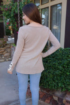 Live For The Moment Mocha Brown Tunic Sweater With Lace 3
