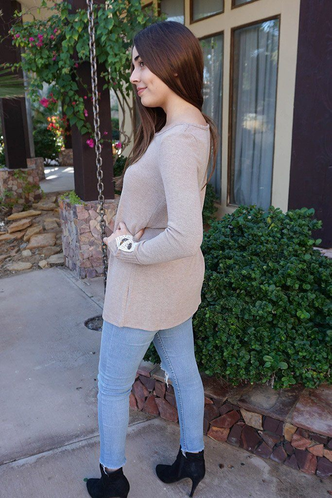 Live For The Moment Mocha Brown Tunic Sweater With Lace 2