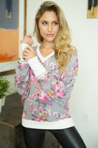 Living Life Grey Floral Print Pullover Sweatshirt 4