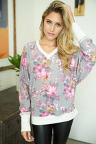 Living Life Grey Floral Print Pullover Sweatshirt 1