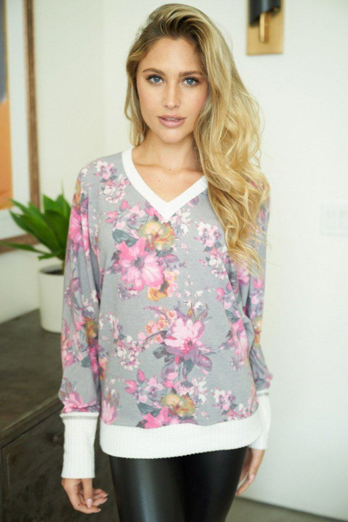 Living Life Grey Floral Print Pullover Sweatshirt 3