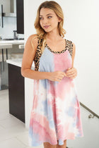 Living Life Pink Multi Tie Dye Cheetah Print Dress 4