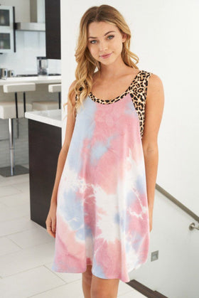 Living Life Pink Multi Tie Dye Cheetah Print Dress 1