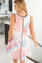 Living Life Pink Multi Tie Dye Cheetah Print Dress 2