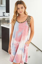Living Life Pink Multi Tie Dye Cheetah Print Dress 3