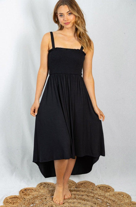 Lost In Paradise Black Smocked Maxi Dress 1