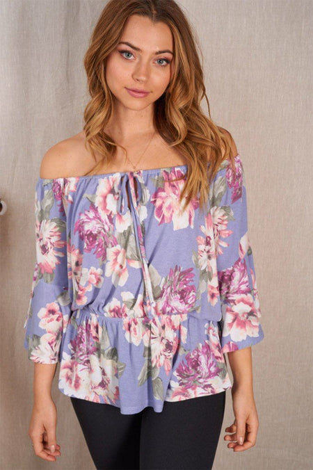 Love In Bloom Lilac Floral Off The Shoulder Top 1