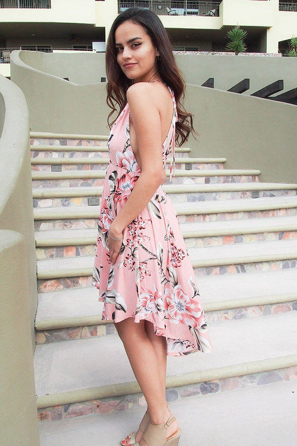 Love Of My Life Peach Floral Print High Low Midi Dress 2